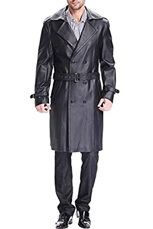 "BGSD Men's ""Xander"" Classic Leather Long Trench Coat - Black M"