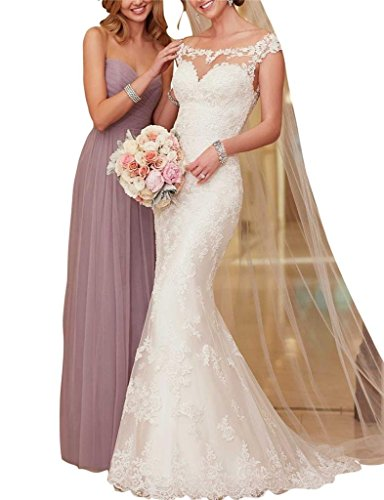 Hotprom Women s 2016 Elegant Mermaid Lace Bride Wedding Dress Size 0 White a856c172ac