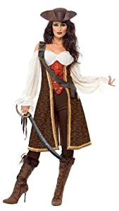 Smiffy's High Seas Pirate Wench Costume, Brown/White/Red, Medium