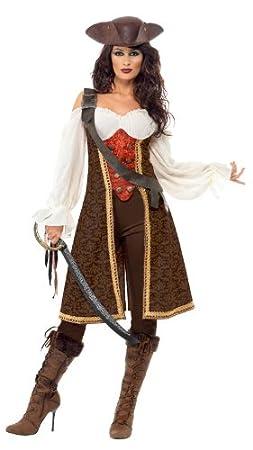 Gli adulti Pirata Cappello Marrone Plastica Gancio E SPADA CARAIBI PARTY Costume Set