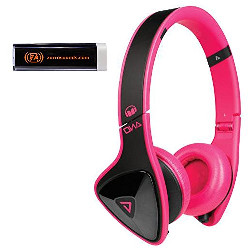 Monster 128551 DNA On-Ear Headphones (Black on Pink) with Mobile Charger (Custom Monster Dna compare prices)