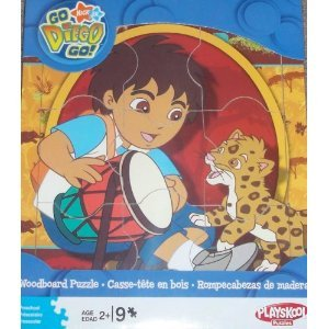 Cheap Playskool Nick Jr. Go Diego Go! Woodboard Puzzle – Diego with Drum and Baby Jaguar (B002B0D3II)