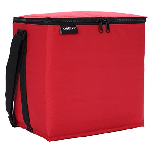 MIER 24 Can Soft Cooler Insulated Lunch Box Bag for Women,Men,Girls,Boys, Leakproof Lunch Tote(Red) (24 Milk Can compare prices)