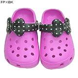 【キッズ】おでかけるんるんリボンちゃんサンダル2012☆子供用ファッション雑貨(靴)通販☆【フューシャピンク×BK Lサイズ】