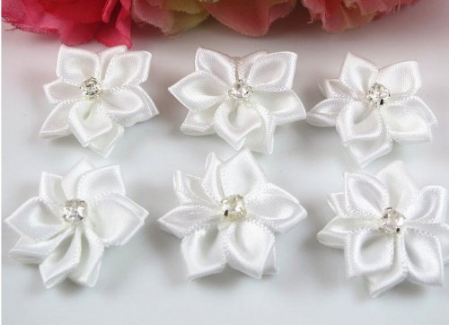 YAKA 60pc Satin the Ribbon Flowers with the Appliques Craft DIY Wedding to White