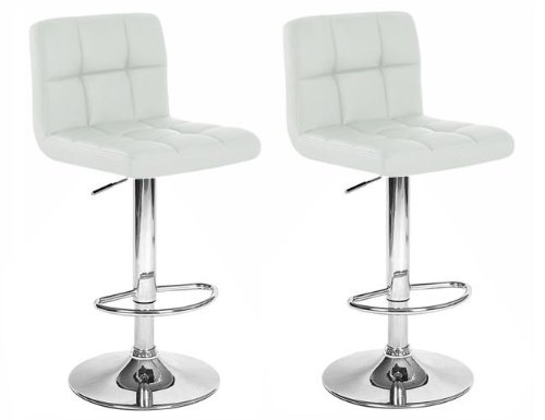 Set Of 2 White & Chrome Finish Air Lift Adjustable Bar Stools