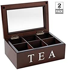 Mark Feldstein and Associates TBX6 Tea Chest 6 Compartment (2 pack)