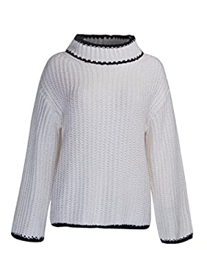 Choies Women White High Neck Splice Ribbed Knit Pullover Sweater Onesize