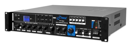 Pyle Pt730U 375 Watt Pa Amplifier With 5 Mic Inputs, Mic Talk-Over Function, Usb/Sd Card Readers, Aux Input, Fm Radio
