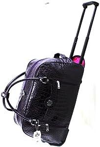 Womens Designer Lydc Luggage Mock Croc Wheeled Travel Holdall Trolley Bag Purple