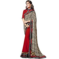 Vasu Saree Vehemently Patch Work Red Designer Saree
