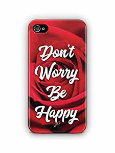 YuBingo Don't Worry. Be Happy Designer Mobile Case Back Cover for Apple iPhone 4