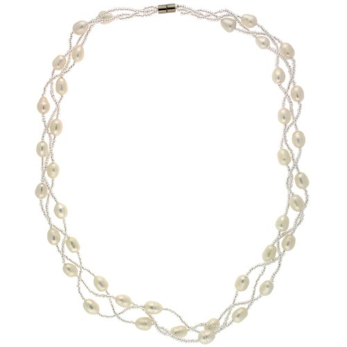 Diane Pearl Necklace White Freshwater Pearl (8-9.5mm) Sparkling 19