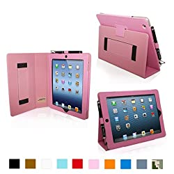 Snugg iPad 4 & iPad 3 Case - Leather Case Cover and Flip Stand with Elastic Hand Strap and Premium Nubuck Fibre Interior (Pink) - Automatically Wakes and Puts the iPad 4 & 3 to Sleep. Superior Quality Design as Featured in GQ Magazine