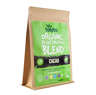BodyMe Organic Vegan Protein Powder Blend | Raw Cacao | 1kg | UNSWEETENED with 3 Plant Proteins