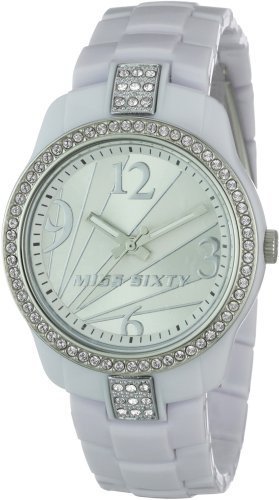 Miss Sixty Ladies Watch Sra007 In Collection Jungle, 3 H and S, Silver Dial and Write Strap