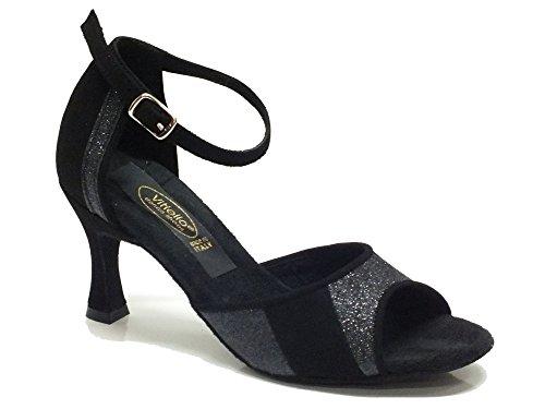 Scarpa per Tango Argentino da donna in camoscio nero tacco 7 (Taglia 37)