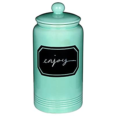 "12"" Large Turquoise Ceramic Cookie Jar Kitchen Canister w/ Vintage Style Black Chalkboard Label"
