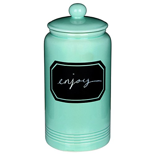 12 quot large turquoise ceramic cookie jar kitchen canister w