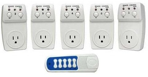 Wireless Remote Control Outlet Switch 120 watts Socket 5 Pack (5 Outlets) ** BATTERY INCLUDED ** Designed for Appliances, Lamps, Air Conditioners, or any Electrical Equipment