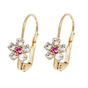 18K Gold Overlay Huggie Earrings With Simulated Diamond Flower