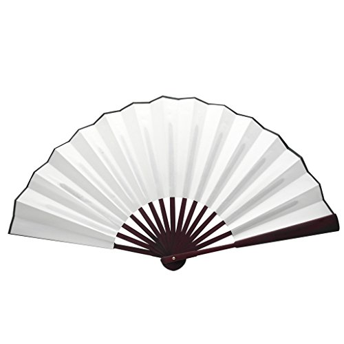 TrendBox Chinese Traditional Nylon-Cloth Handheld Folding Fan For Pratice Performance Dancing Ball Parties Unisex - Pure White