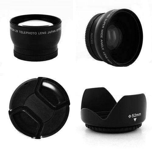 0.45X Wide Angle + 2X Telephoto Lens Kit + Cap + Hood 58Mm For Canon Gl1 Gl2 Minidv Digital Camcorder