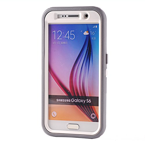 KeckoTM Heavy Duty Defender 3-layer Tough Rubber Shockproof Weather Water Resistant Natural Tree Camo Rugged Silicon Impact Built-in Screen Protector Hybrid Case w Camouflage Wood Design for Samsung Galaxy S6 ATT - Verizon - T-Mobile - Sprint Only--Branch Leaves on the Core for Girls Boys Pink Tree Gray