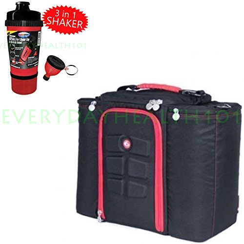 6 Pack Innovator Black/Red 500 Fitness Bag Meal Management With 3-In-1 Shaker