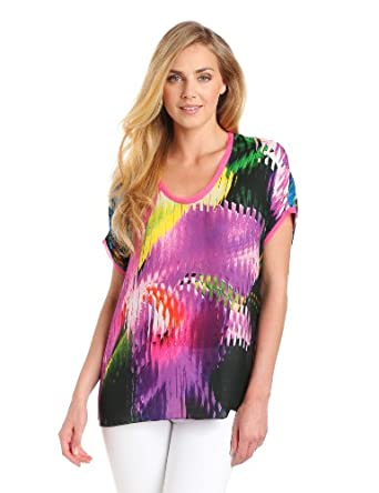 ELIE TAHARI Women's Dallas Palermo Printed Short Sleeve Top, Black Multi, Medium