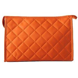 SODIAL(R) Women Zipper Closure Small Cosmetic Case Makeup Bag - Orange Size L