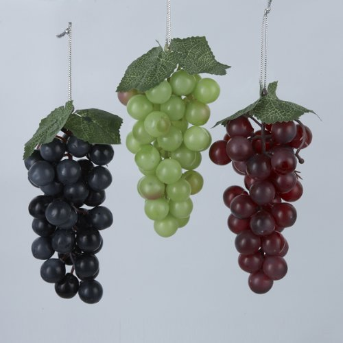 Kurt Adler Plastic Grapes Christmas Ornament Set