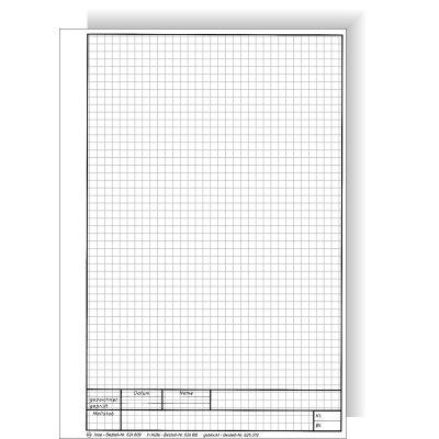 zeichenbl tter din a 4 hochformat kariert schriftfeld unten 20 blatt 150 gr grau. Black Bedroom Furniture Sets. Home Design Ideas