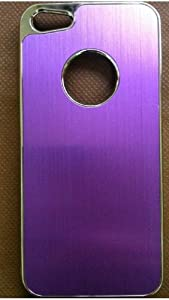 YIKING Purple Deluxe Black Metal Aluminum Chrome Hard Case Cover for Apple iPhone 5 5G