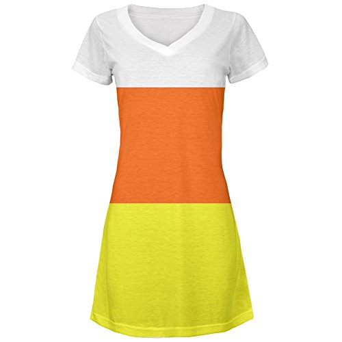 Halloween Candy Corn Costume All Over Juniors V-Neck Dress - Large (Candy Corn Costume compare prices)
