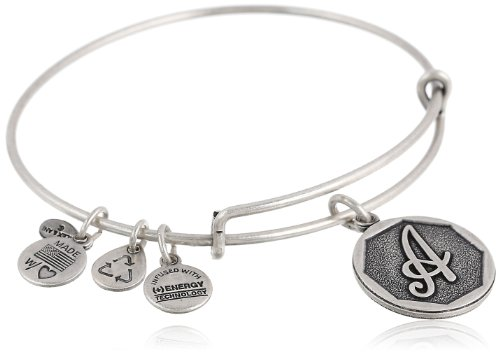 "Alex and Ani Rafaelian Silver Finish Initial ""A"" Expandable Wire Bangle Bracelet, 7.25"""