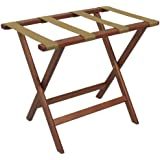 Wooden Mallet Deluxe Straight Leg Luggage Rack, Mahogany, Tan Straps