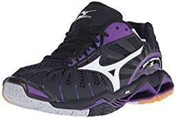 Mizuno Women\'s Wave Tornado X-W Volleyball Shoe, Black/Purple, 9.5 D US