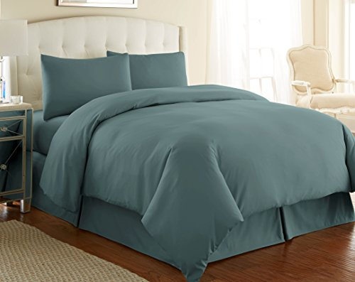 southshore fine linens 3 piece oversized duvet cover set king steel blue reviews bedding. Black Bedroom Furniture Sets. Home Design Ideas