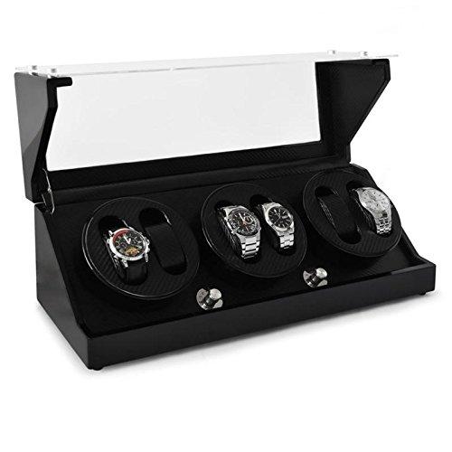 Klarstein repräsentativer Uhrenbeweger für 6 Uhren in Karbon-Optik handgearbeitet (4 Programme, integr. Akku) leise - 2
