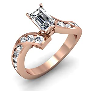1.45 Ct Emerald Cut FLAWLESS H-Color Diamond Engagement Ring Channel Set 14K GIA