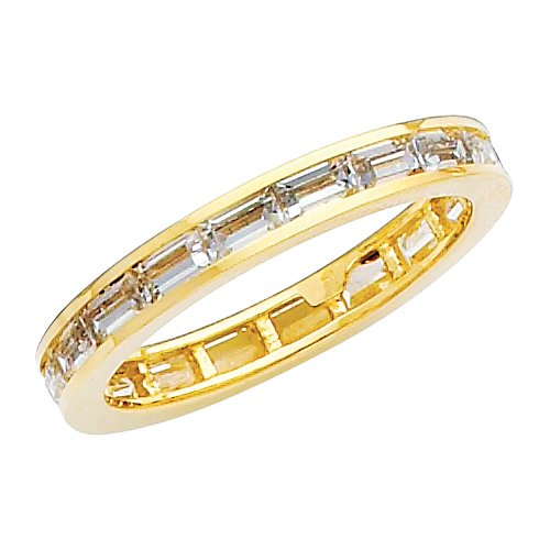 14K Yellow Gold Channel set Baguette shape CZ Cubic Zirconia Eternity Ring Band - size 5