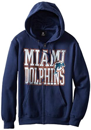 NFL Miami Dolphins Touchback V Full Zip Hooded Sweatshirt, Athletic Navy, Small by VF LSG