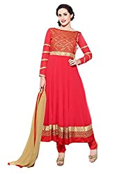 Inddus Women Red Georgette Embroidered Dress Material