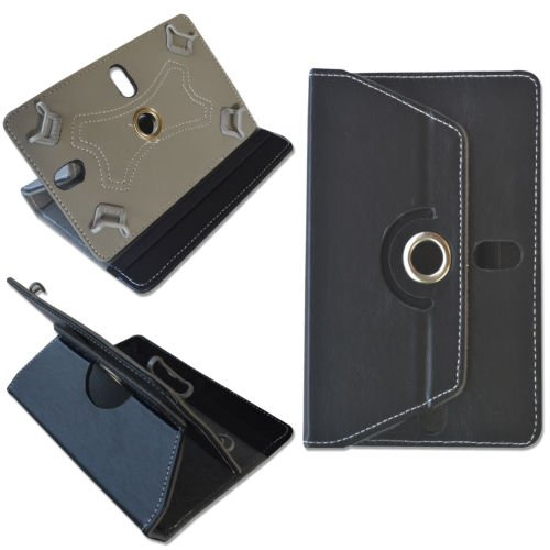 """NOVICZ 10 Inch Tablet Pouch Rotate Flip Cover for Tab Carry 10"""" Case Stand Leather Universal Black"""
