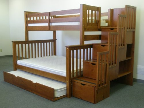 Bedz King Twin Over Full Stairway Bunk Bed with Twin Trundle, Expresso