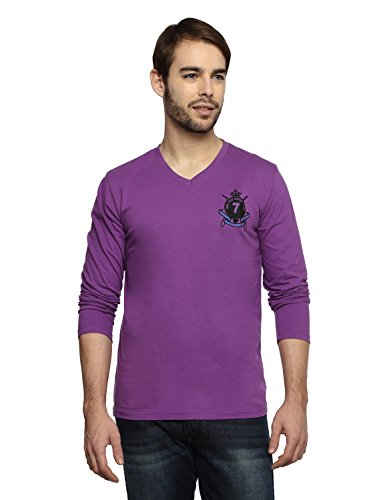 Teen Tees Men's Cotton Embroidered Violet Colour Full Sleeves V Neck Tshirt