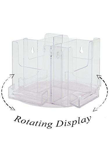 Marketing Holders 4 Pocket Spinning Tri-Fold Brochure Holder Rotating Countertop Display With Business card attachments Clear with White Base (Spinning Countertop Display compare prices)