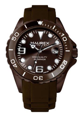 Haurex Italy 1K374UMM - Reloj analógico de cuarzo para hombre con correa de caucho, color marrón