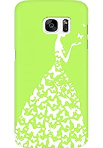 AMEZ designer printed 3d premium high quality back case cover for Samsung Galaxy S7 Edge (light green white girl princess)